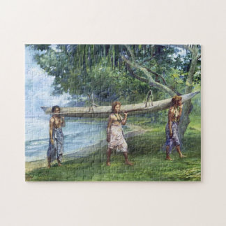 """""""Meisjes die een Kano dragen"""" - John LaFarge Legpuzzel"""