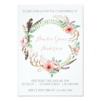 Meisjes die Uitnodiging dopen - Roze Bloemen