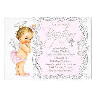 Meisjes Weinig Doopsel van de Engel 12,7x17,8 Uitnodiging Kaart
