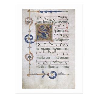 Mej. 564 f.13v- Pagina met historiated departement Briefkaart