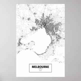 Melbourne, zwart Australië (op wit) Poster