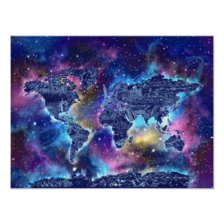 melkweg 3 van de wereldkaart poster