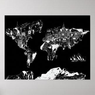 melkweg zwart-witte 1 van de wereldkaart poster