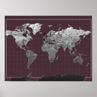melkweg zwart-witte 6 van de wereldkaart poster