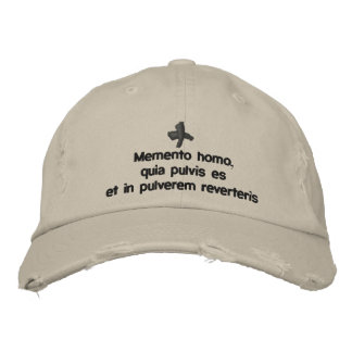 Memento Homo, geleend pet - cappello quaresimale Geborduurde Pet