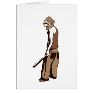 menselijke aap met stok wenskaart