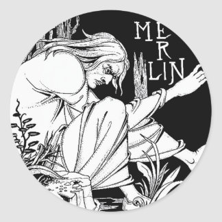 """Merlin"" door Aubrey Beardsley, 1893 Ronde Sticker"