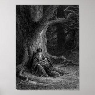Merlin en Vivien door Gustave Doré 1868 Poster