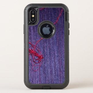 Met de hand gemaakte Blauwe Thaise Zijde met Rode OtterBox Defender iPhone X Hoesje