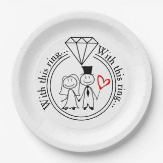 Met Dit Huwelijk van het Paar van het Cijfer van Papieren Bordje