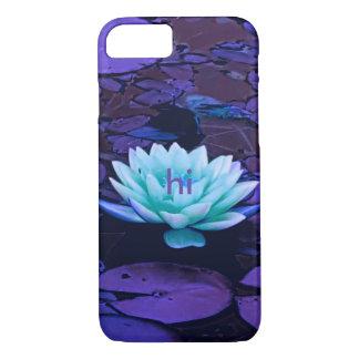 Met monogram van de Bloem van Lotus Paarse iPhone 8/7 Hoesje