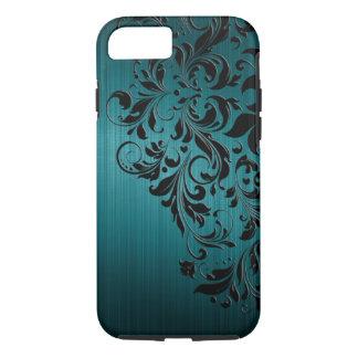 Metaal Blauwgroen Geborsteld Aluminium & Zwart iPhone 8/7 Hoesje