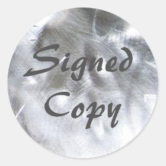 Metaal Foto en Grijs Ondertekend Exemplaar Ronde Sticker