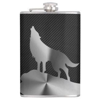 Metaal huilende wolf met koolstofvezel heupfles