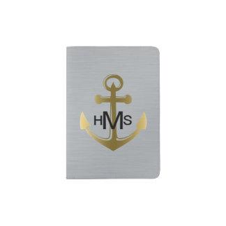 Metaal Zilveren Gouden ZeevaartAnker Geborsteld Paspoort Houder