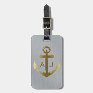 Metaal Zilveren Gouden ZeevaartAnker Met monogram Kofferlabels