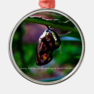 metamorfose zilverkleurig rond ornament