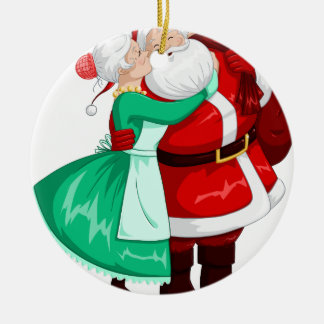 Mevr. Claus Kisses Santa On Wang en Omhelzingen Rond Keramisch Ornament