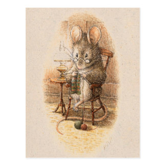 Mevr. Dormouse Knitting Briefkaart
