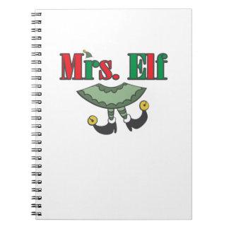Mevr. Elf Matching Couple Christmas Ringband Notitieboek