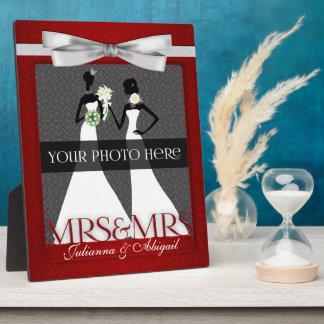 Mevr. & Mevr. Lesbian Gay Wedding Photo Lijst in R Fotoplaat