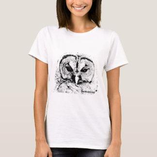Mevr. Owl Mar2015 - Zwarte op Wit T Shirt