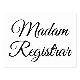 Mevrouw Registrar Briefkaart