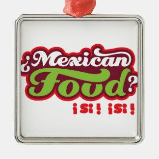 MEXICAANS VOEDSEL ZILVERKLEURIG VIERKANT ORNAMENT