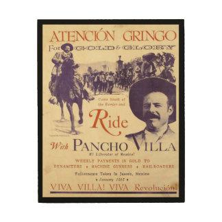 Mexicaanse Held Algemeen Pancho Villa Hout Afdruk
