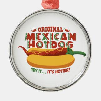 Mexicaanse Hotdog Zilverkleurig Rond Ornament