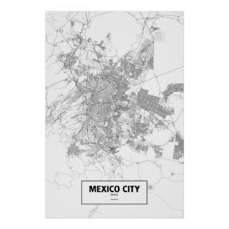 Mexico-City, zwart Mexico (op wit) Poster