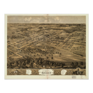 Mexico Missouri 1869 Antiek Panoramische Kaart Poster