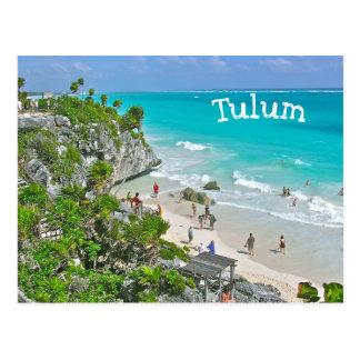 (Mexico) RUÏNES TULUM BOVEN STRAND EN de CARAÏBEN Briefkaart