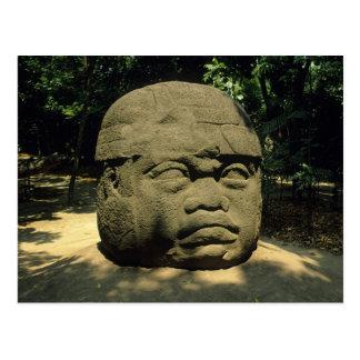 Mexico, Villahermosa, reuzeOlmec hoofd, La Venta Briefkaart