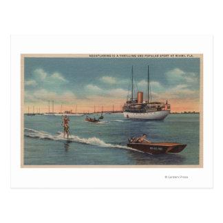 Miami, FL - het Ski?en van het Water Scène, Houten Briefkaart