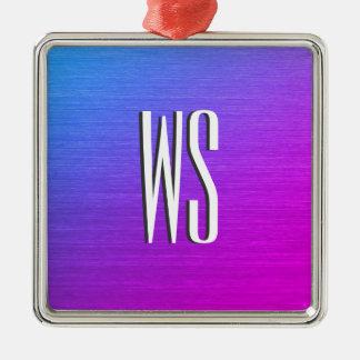 Miami glanst Monogram Zilverkleurig Vierkant Ornament