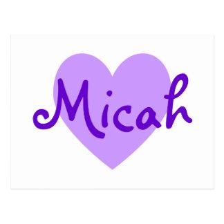 Micah in Paars Briefkaart