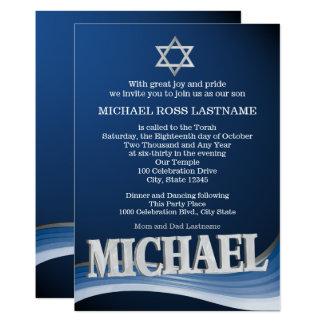 Michael Steel Wave Name Bar mitswa 12,7x17,8 Uitnodiging Kaart
