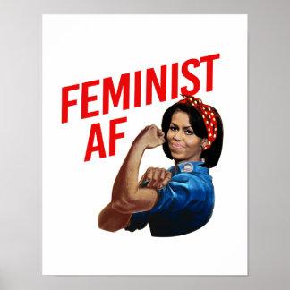 Michelle Obama - Feministische AF - rood -- Poster
