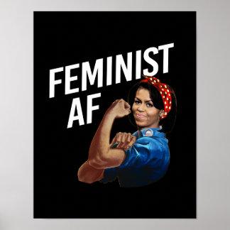 Michelle Obama - Feministische AF - wit -- Poster