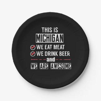 Michigan eet Vlees drink Geweldige Bier Papieren Bordje