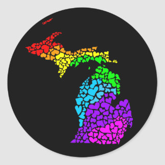 Michigan trots: regenboog harten ronde sticker