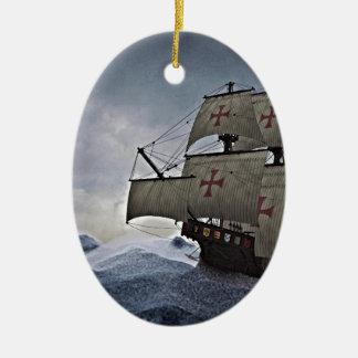 Middeleeuwse Carrack in het Storm Keramisch Ovaal Ornament