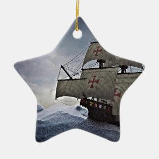 Middeleeuwse Carrack in het Storm Keramisch Ster Ornament