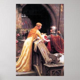 Middeleeuwse Dame en Ridder Poster