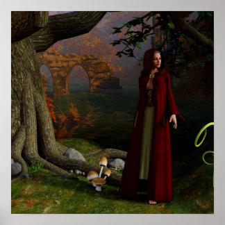 Middeleeuwse Dame Fantasy Art Forest Poster