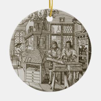 Middeleeuwse Duitse drukpers (gravure) Rond Keramisch Ornament