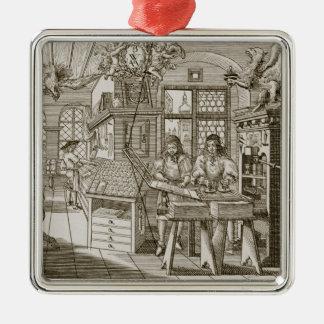 Middeleeuwse Duitse drukpers (gravure) Zilverkleurig Vierkant Ornament