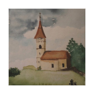 Middeleeuwse Engelse Kerk Watercolour Gallerij Wrap Canvas