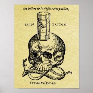 Middeleeuwse het posterdruk van de houtdrukschedel poster